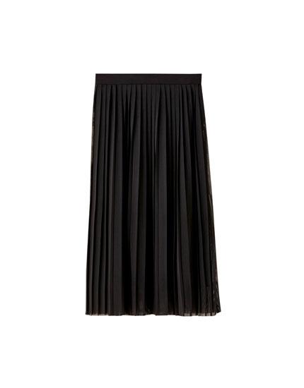 Falda midi plisada tul