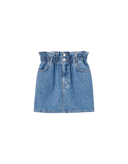 Denim mini skirt with stretch waist