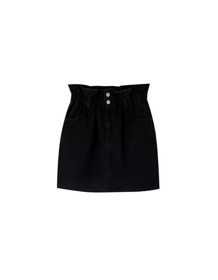 Black stretch denim mini skirt
