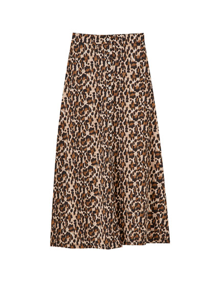 Long button-up leopard print skirt