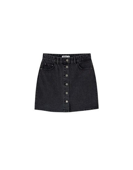 Denim mini skirt with contrast front buttons