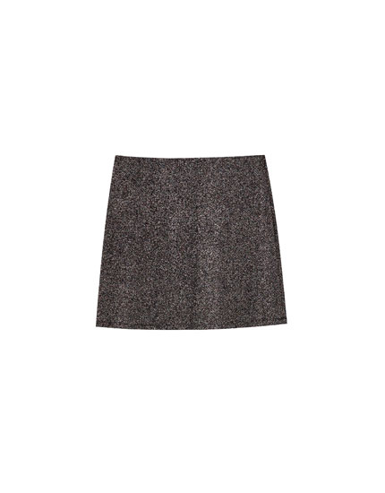 Shimmery black mini skirt