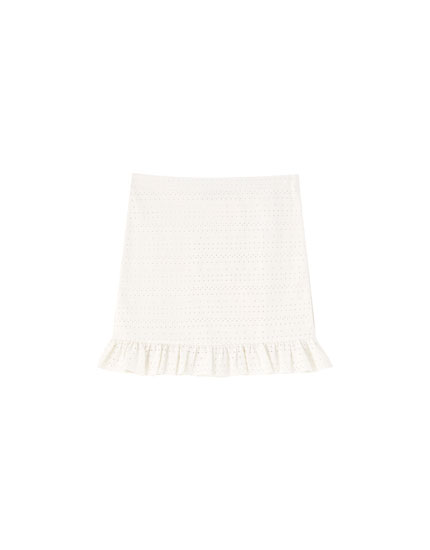 White Swiss-embroidered skirt