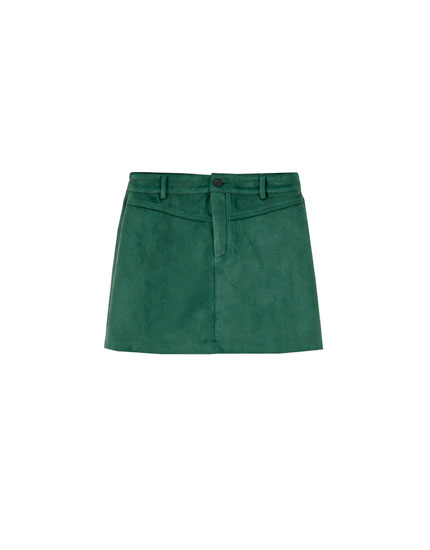 Yoke-front faux suede mini skirt