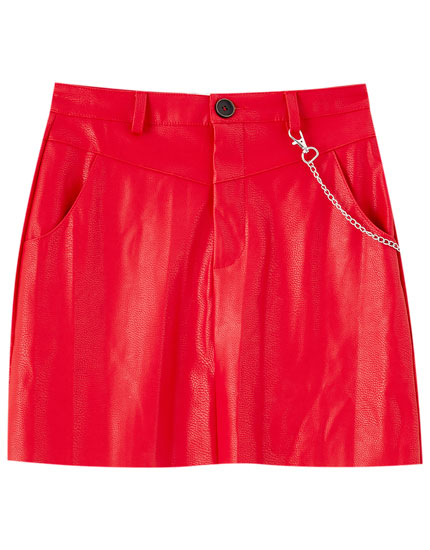 Faux leather mini skirt with yoke