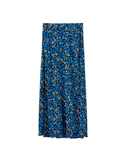 Floral midi skirt with a slit