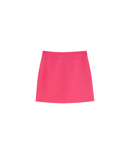 Pink fitted mini skirt