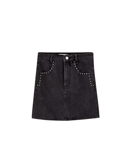 Denim mini skirt with rhinestones