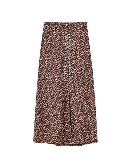 Printed button-down midi skirt