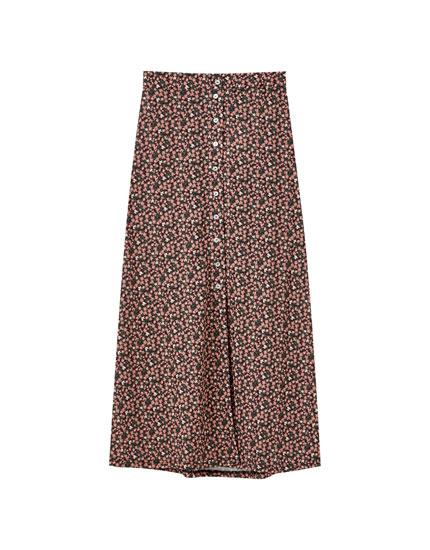 Mønstret midi-nederdel med knapper