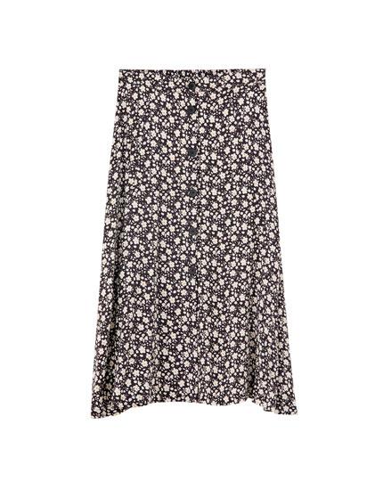 Printed button-down midi skirt
