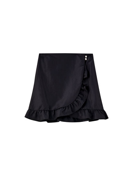 Black wraparound mini skirt with ruffles