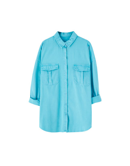 Oversized denim shirt in various colours