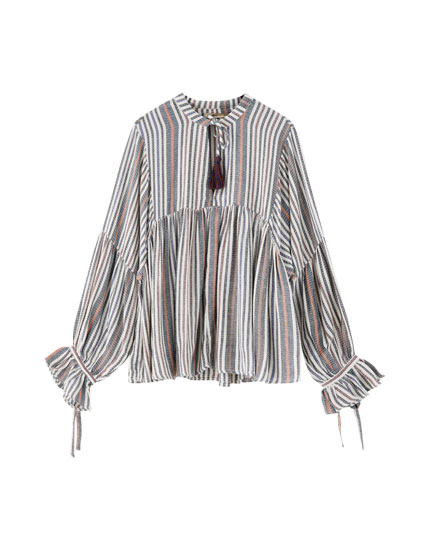 Balloon sleeve blouse with tassels