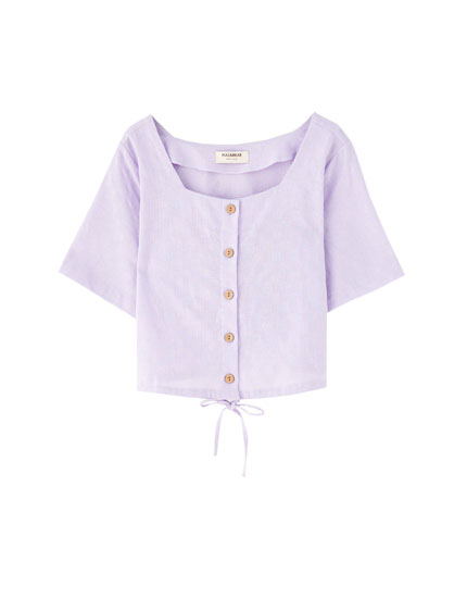 Lilac shirt with front buttons