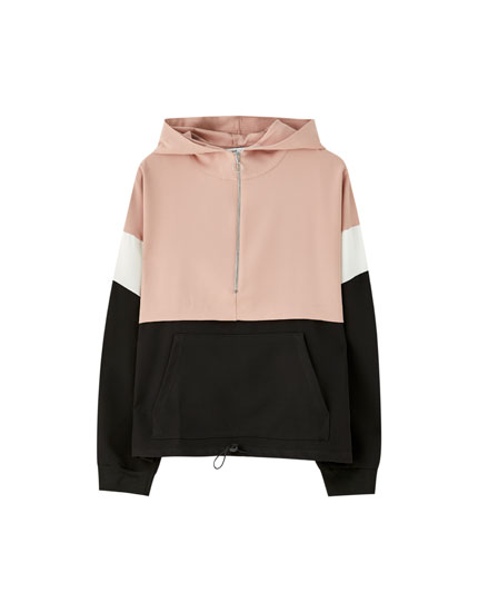 Sweatshirt com canguru e color block