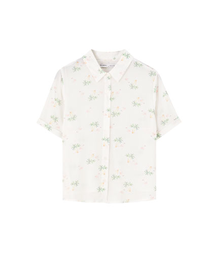 Basic printed short sleeve shirt