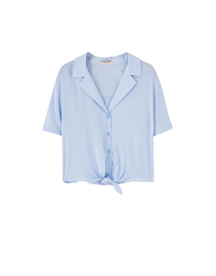 Knotted short sleeve shirt