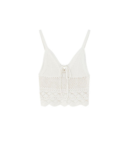 Crochet lace-up top with straps