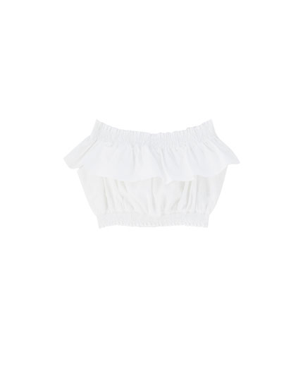 Top branco cropped volantes