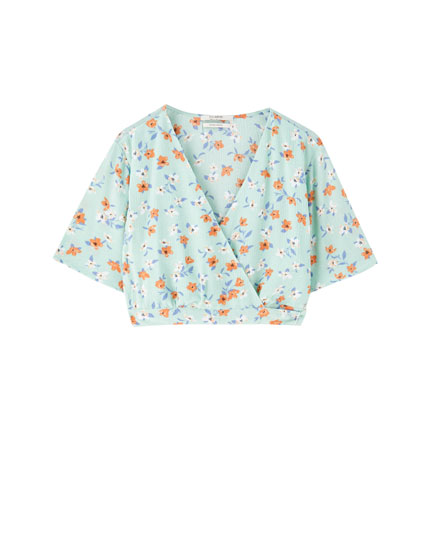 Floral blouse with back bow