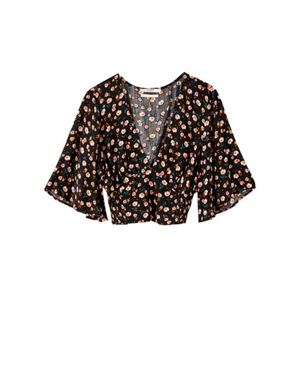 Short sleeve floral print blouse