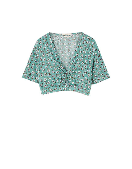 Floral blouse with gathered chest detail
