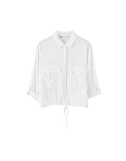 Hemd mit Taschen und 3/4-Ärmeln
