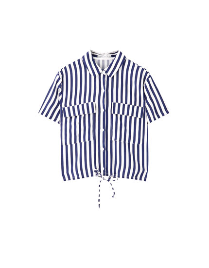 Striped shirt with flap pockets