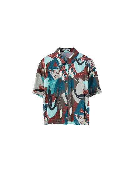 Printed shirt with elastic waist