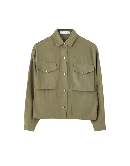 Khaki overshirt with elastic hem