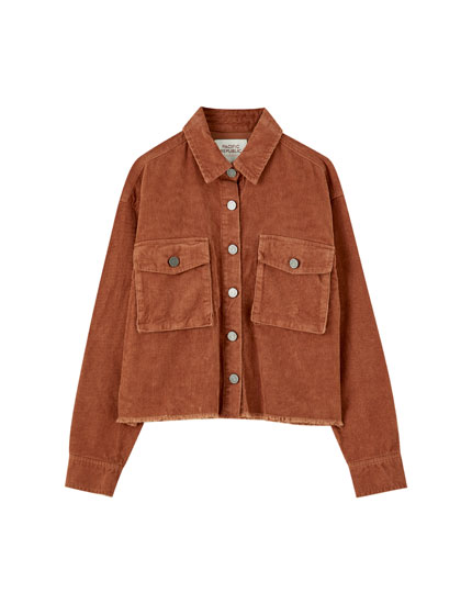 Corduroy overshirt with flap pockets