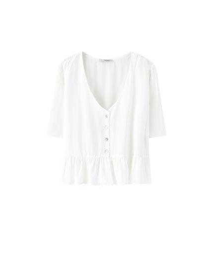 Ruffled V-neck blouse
