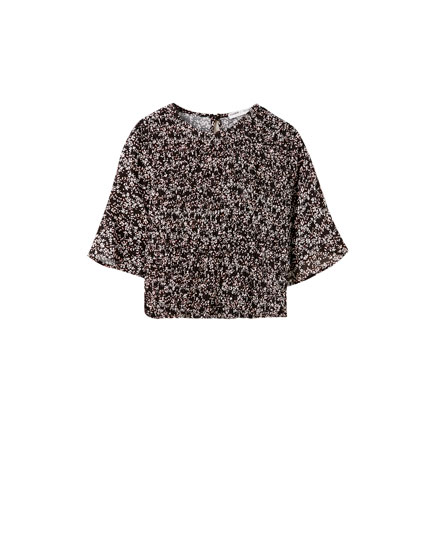Printed shirred elastic shirt