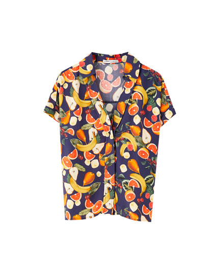 Short sleeve fruit print shirt