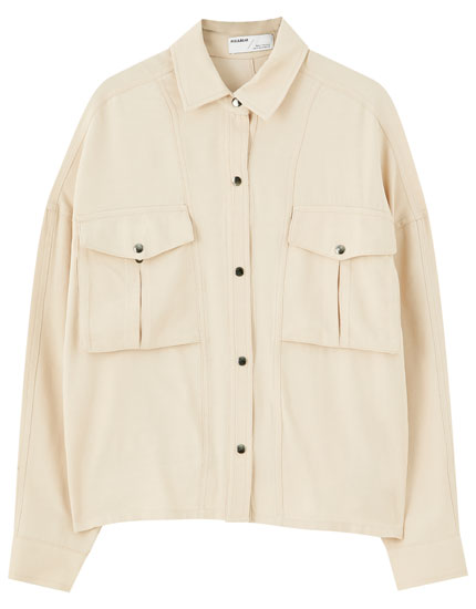 Overshirt with topstitching