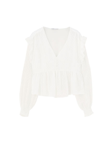 White dotted mesh blouse with ruffles