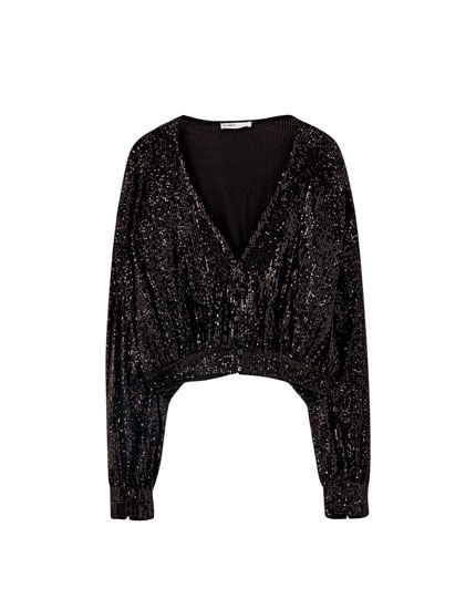 Oversized sequinned blouse