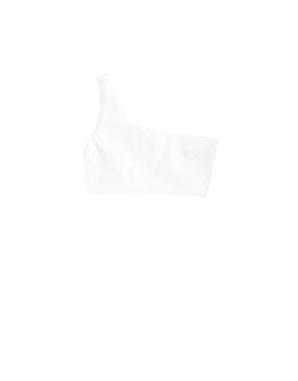 White denim one-shoulder top