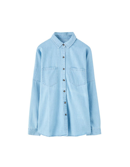 Oversized long sleeve denim shirt