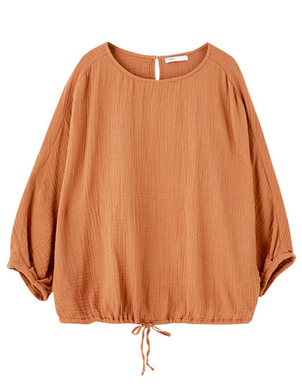 Oversized drawstring shirt