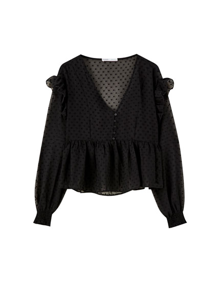 Dotted mesh blouse with ruffles