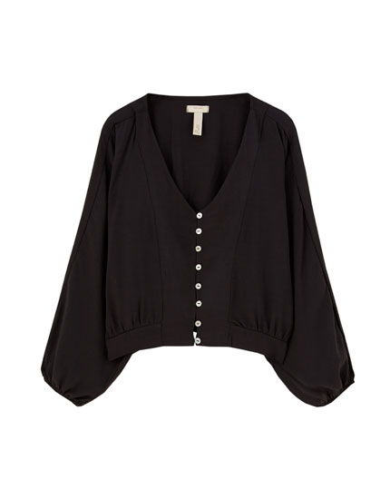 Textured puff sleeve shirt