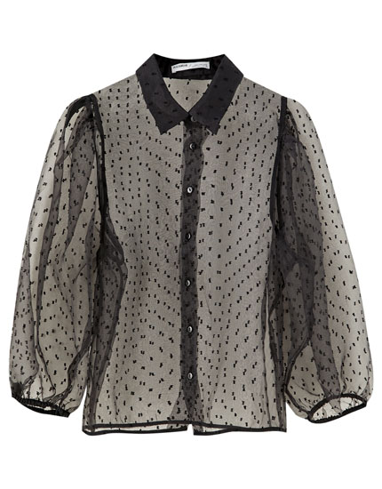 Dotted mesh voluminous sleeve shirt