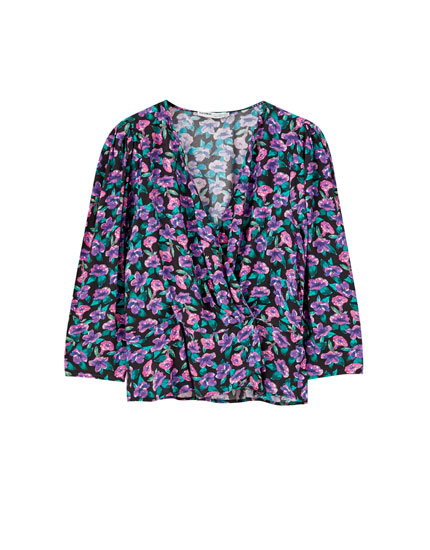 Printed voluminous sleeve shirt