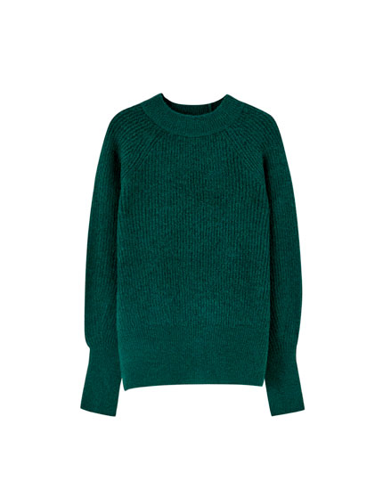 Brioche stitch sweater with voluminous sleeves