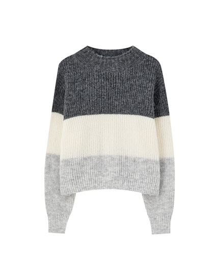 Brioche stitch mock neck sweater