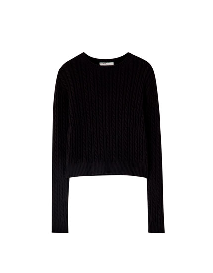 Basic black cable-knit sweater