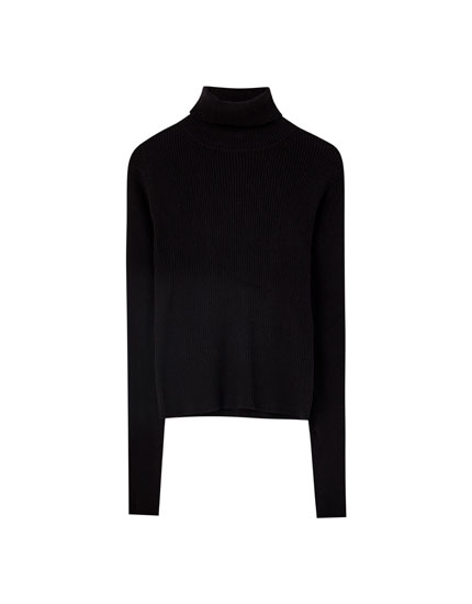 Black ribbed high neck sweater