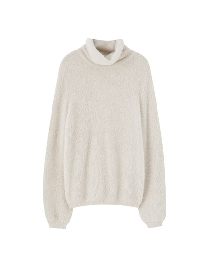 Purl-knit high neck sweater